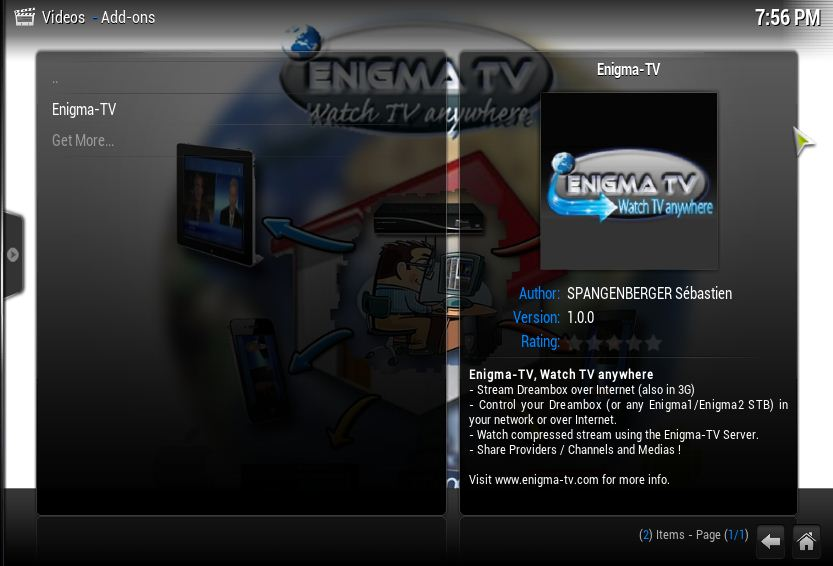 Video Plugin] Enigma-TV, streaming Dreambox over Internet